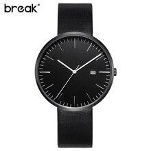 BREAK 2016 men unisex stainless steel genuine leather strap minimalist fashion casual business dress quartz watches for women