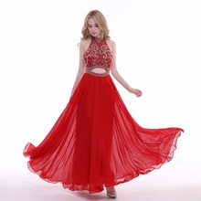 2017 New Simple Elegant Evening Dress Bride Red Lace Two Pieces High/low Sleeveless Formal Party Gown Robe De Soiree