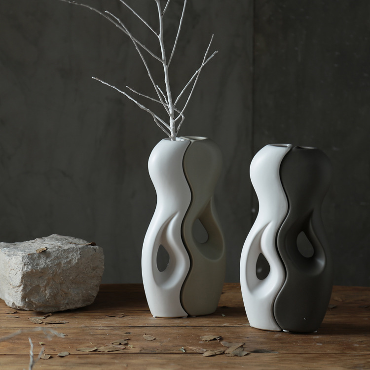 Pisces vase Modern creative home office table ceramic yin and yang fengshui Ware Nordic decorations jarrones decorativos modernoPisces vase Modern creative home office table ceramic yin and yang fengshui Ware Nordic decorations jarrones decorativos moderno