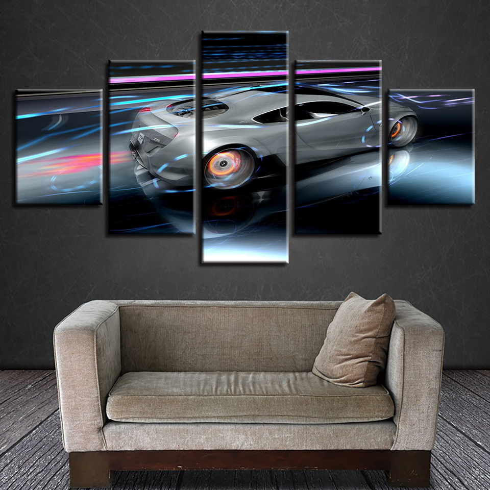 Poster Frame Wall Art Home Decoration Modern 5 Panel Sports Car For Living Room Canvas HD Print Modular Pictures Painting