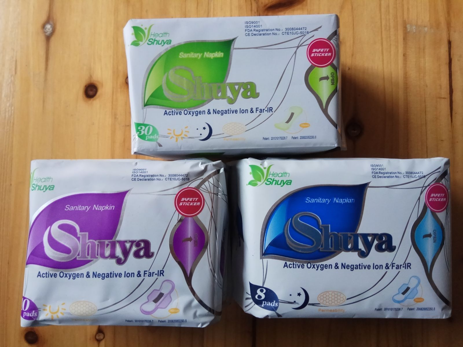 Hot~Shuya Organic Cotton Anion Sanitary Napkin Day Use+Nigh Use+Panty Liners