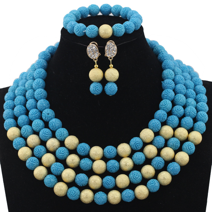 New Blue Wedding African Beads Jewelry Set Blue&Gold Beaded Costume Women Necklace Set 4 Layers Beads Free Shipping HX628 classic royal blue african costume beaded jewelry set handmade 3 layers nigerian beads wedding jewellry set free shipping 10057