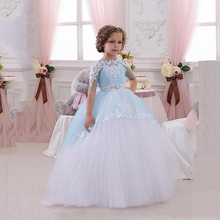 2017 Kids Wedding Dresses Girls Fashion Lace Floral Party Dress Girl Long Sleeve Cotton Formal Princess Birthday Dress
