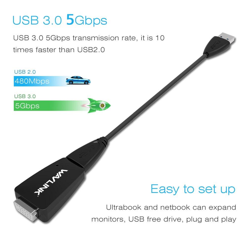 Wavlink USB 3.0 kuni VGA adapter Väline graafikakaardi muunduri - Arvuti kaablid ja pistikud - Foto 4
