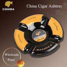 أسعار الجملة! كوهيبا عالية الوضوح موضة 4 حامل الصين حجم كبير السيجار مستديرة منفضة سجائر