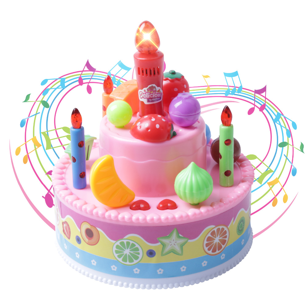 13cm Pretend Play Record And Playback Toy Musical Birthday Cake With Light Up Candle Song For Kids Gift185