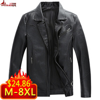 Big Size M~ 8XL Leather Jacket Men Motorcycle PU Leather Jacket Male Business casual Coats Man Jaqueta Masculinas Inverno Couro