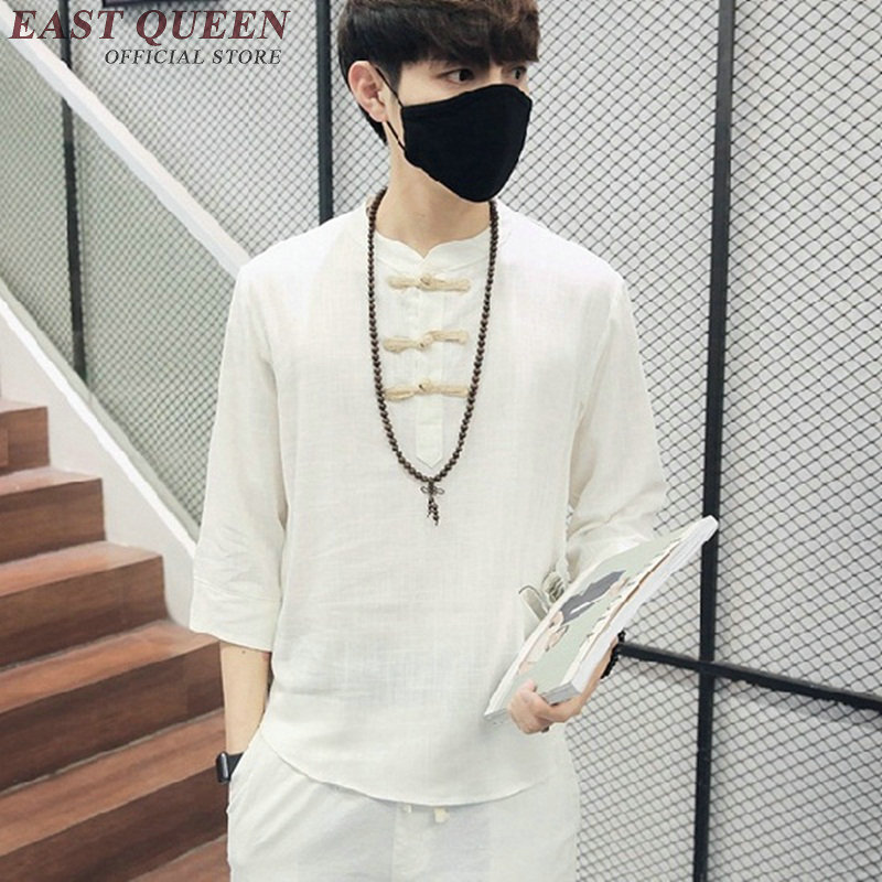 Traditional font b mens b font clothing Chinese oriental button linen white font b shirts b