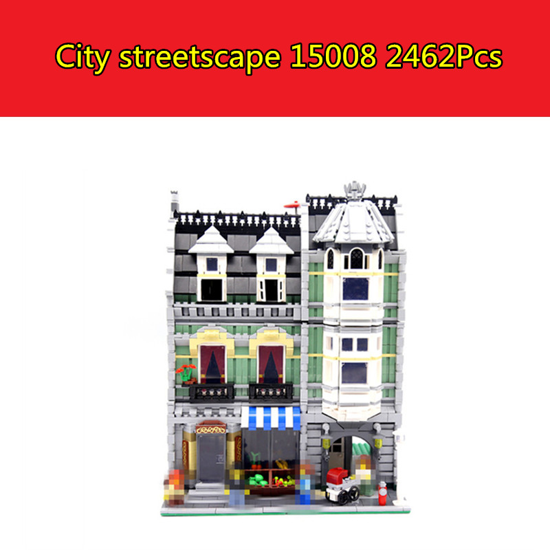 15008 City Street Series Creator Green Grocer Model Building Blocks Bricks Kits Compatible with Lego 10185 3D Bricks figure toys lepin 15008 15008b 2462pcs city street green grocer model building kits blocks bricks compatible educational toys 10185