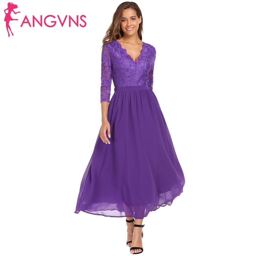 ANGVNS Women Formal Lace Vestidos Elegant V-Neck 3/4 Sleeve Full Length Sexy Backless Patchwork Chiffon Evening Maxi Long Dress