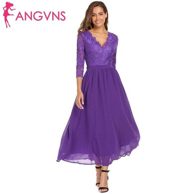 ef1f4a536ac6 ANGVNS Women Formal Lace Vestidos Elegant V-Neck 3 4 Sleeve Full Length  Sexy Backless Patchwork Chiffon Evening Maxi Long Dress