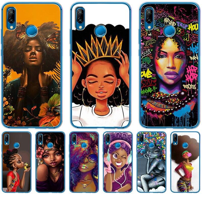 Luxury African girl pattern For Huawei Mate 9 10 20 P8 P9 P10 P20 P30 Lite Plus Pro P Smart phone Case Cover Coque Etui Funda