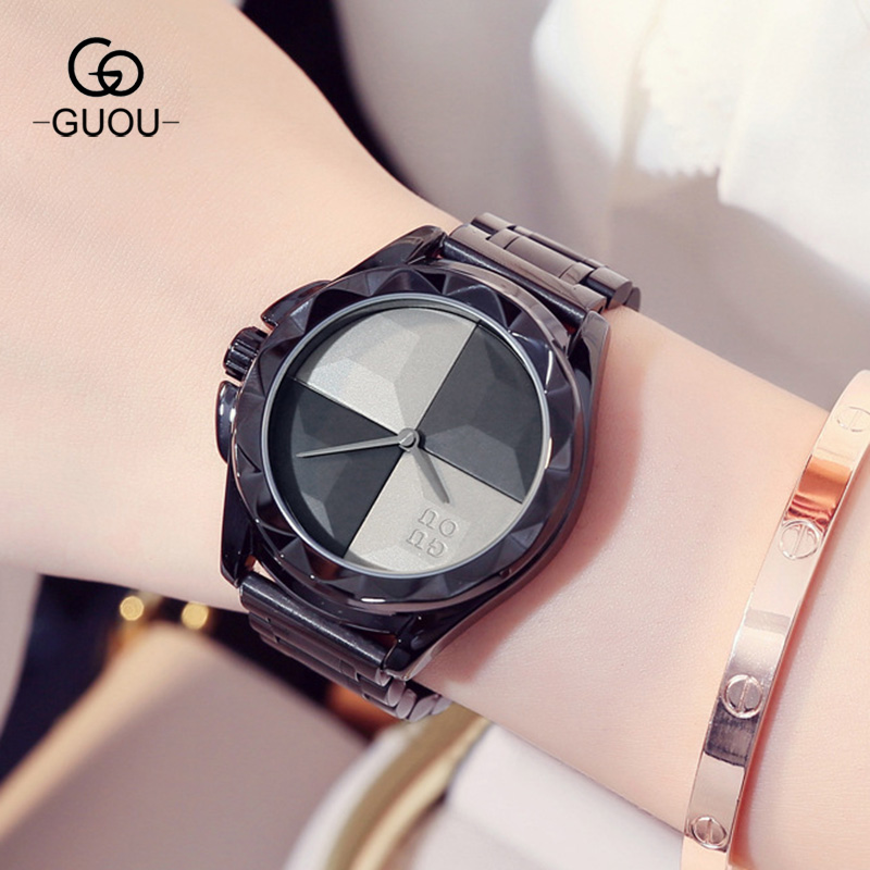 Luxury Fashion GUOU Watch Women Quartz Watch Relogio Feminino Women Wrist Watch Dress Fashion Watch Reloj Mujer Black 8815 guou fashion bracelet women watches luxury brand ladies quartz wrist watch relogio feminino reloj mujer clock saat hodinky