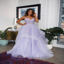 Robe De Soiree Lavender Tulle dress with horsehair trim Hayley, crisscross draped top wedding dress cascading Prom Party Dresses цена 2017