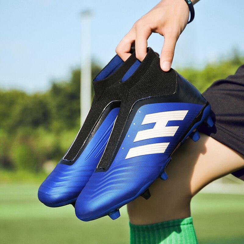 Hommes chaussures de Football crampons de Football bottes longues pointes TF pointes cheville haut baskets femmes chaussures de Football Futsal enfants - 3