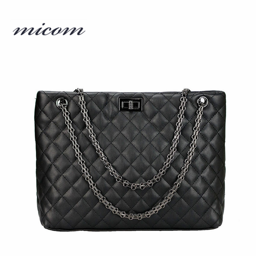 Micom Vintage Black Diamond Lattice Quilted Metal Chain Strap Tote Bag Women Square Style Leather Shoulder Handbag Zip Pouch галстуки href