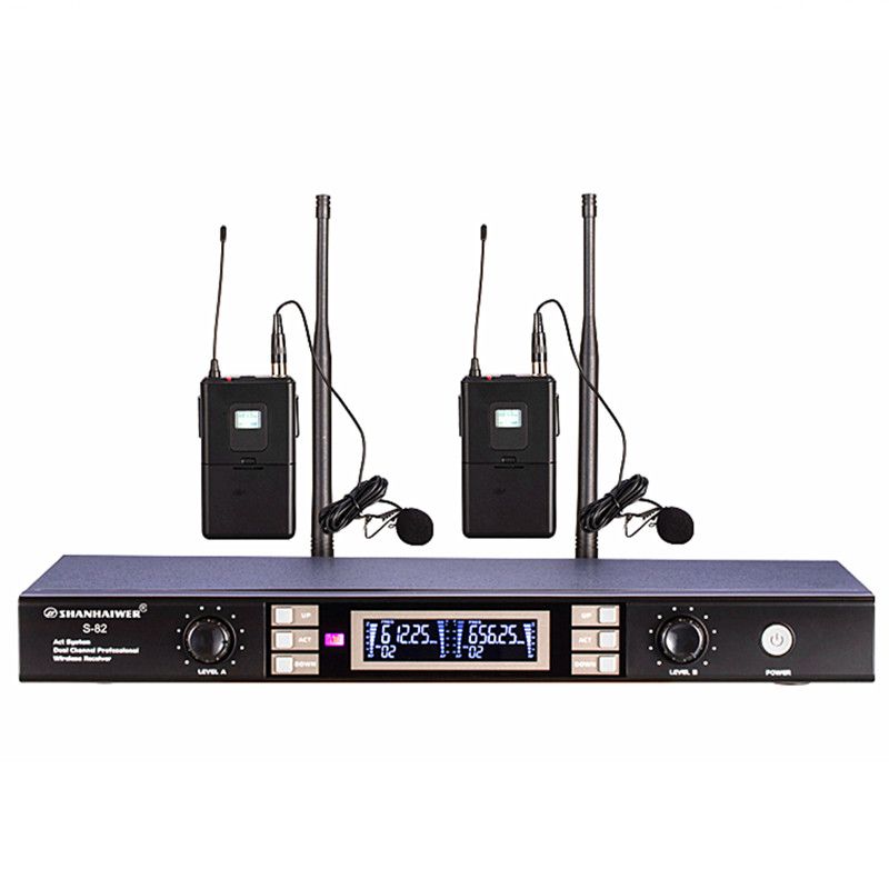 Newest Dual channel headset UHF Wireless Microphone high sensitivity stage performance megaphone 100 frequency points optional long distance signal receiving dual channel handhold professional uhf wireless microphone high sensitivity karaoke megaphone kit