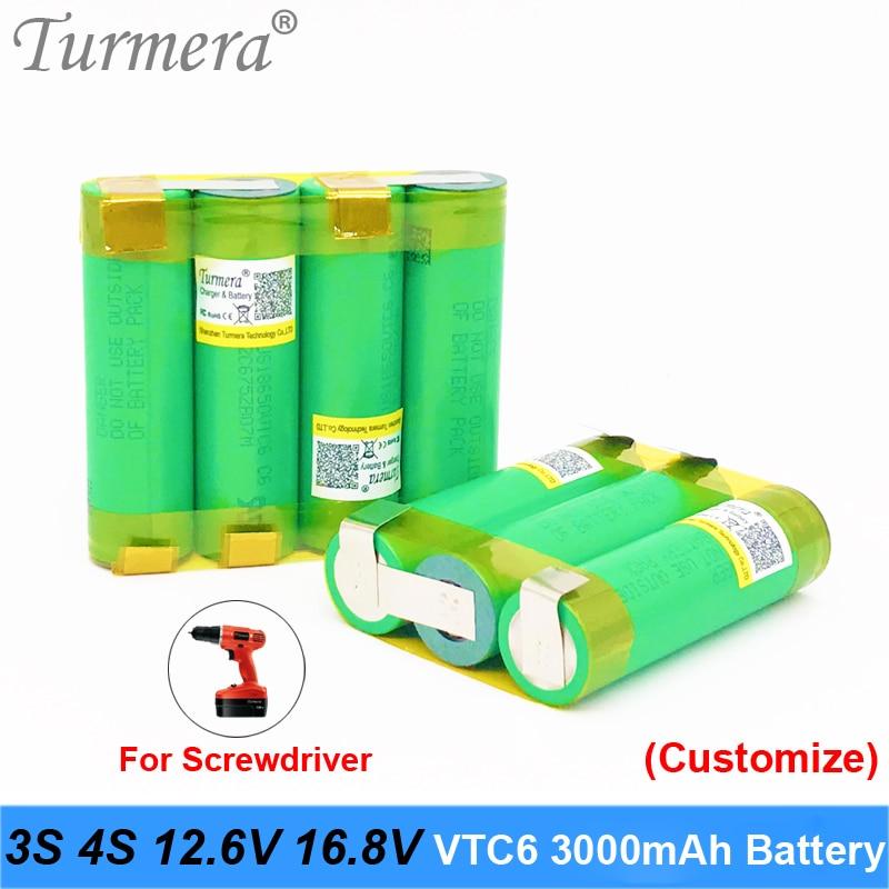 18650 vtc6 3000mah battery 3s 12.6v 4s 16.8v battery for screwdriver battery with weld soldering strip customize battery Turmera