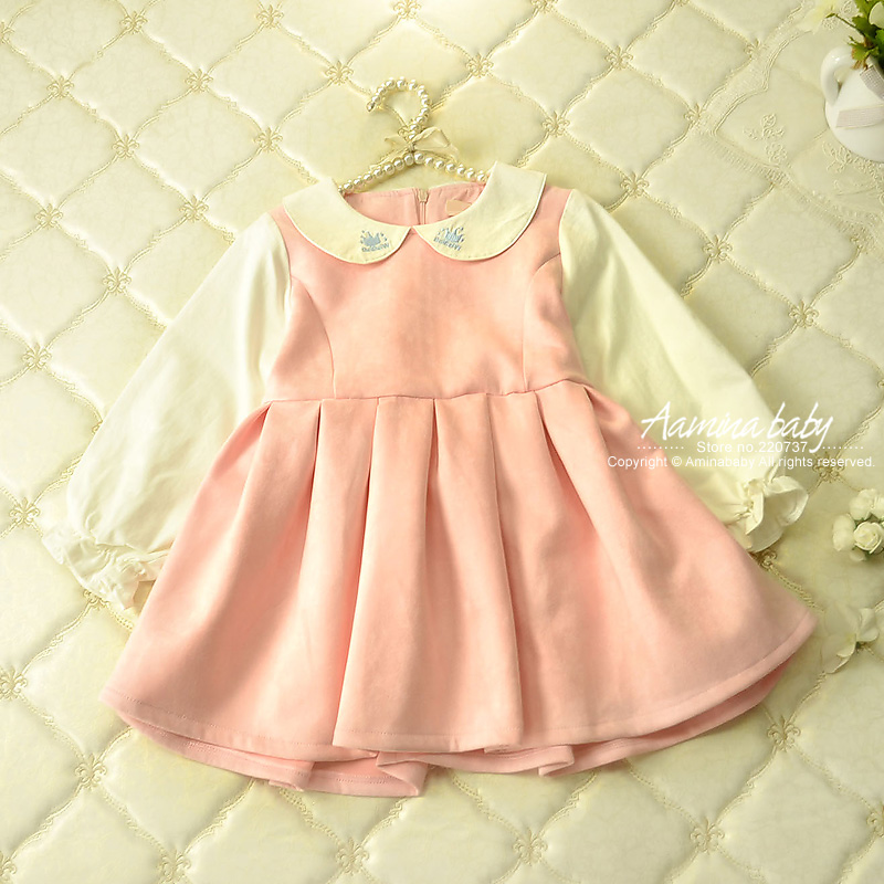 Wholesale children clothing Baby Girls Dresses Candy Color Long Sleeve Dress For Girls Kids Children Princess Dress Clothes 1216 high quality girls baby bright leaf long sleeve lace dress princess bud silk dresses children s clothing wholesale