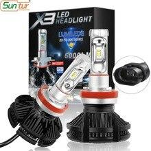 цена на Suntur 9005 HB3 9006 HB4 LED H4 H7 Car LED Headlight H1 H3 H8 H9 H11 LED Bulb 50W 6000LM Car Light bulb 6000K 12V Fog Light