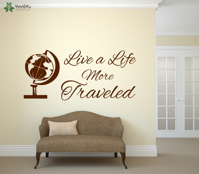 Traveling Wall Decal Quotes Live More Traveled Vinyl Sticker Livingroom Globe Pattern Special Home Decor
