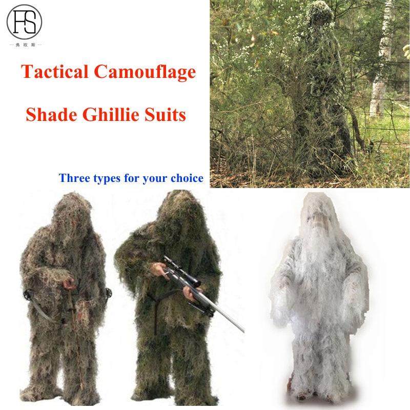 Militaire Camouflage Ghillie Suit Woodland Herbe Foin Style Paintball Feuille Jungle Sniper Vêtements Chasse Tactique Ombre Vêtements