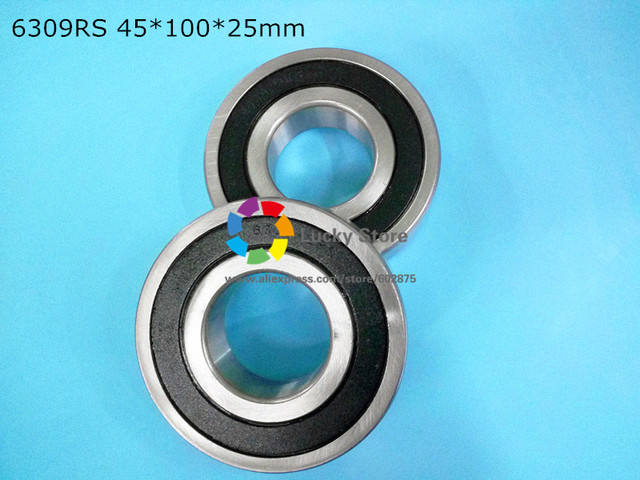 6309RS 1Piece bearing free shipping 6309 chrome steel deep groove bearing 6309RS 45*100*25mm
