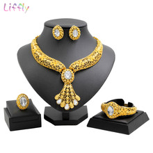 Fashion Charm Women Gold Jewelry Sets Crystal Big Necklace Ring Earrings New Year Prom Party Fine Accessories Jewellery(China)