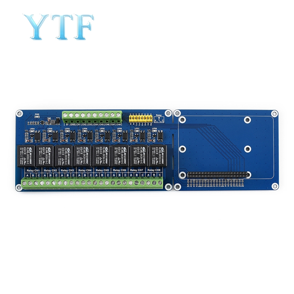 Raspberry Pi 4B/3B+ 8 Way 5V Relay Module Expansion Board With Optocoupler Isolation Support PLC