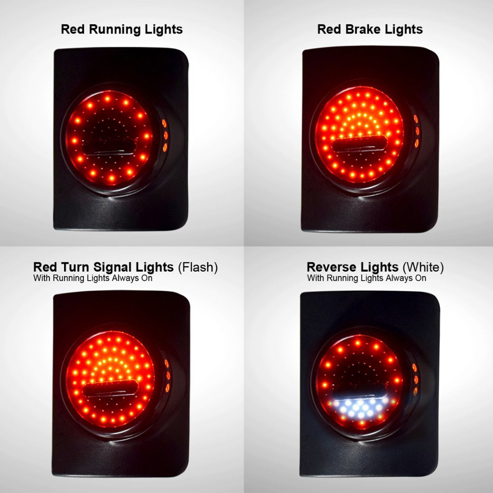 For Jeep Wrangler JK JKU LED Round Tail Lights, Attractive Design Running/Brake Light, Turn Signal Reverse Light auxmart 22 led light bar 3 row 324w for jeep wrangler jk unlimited jku 07 17 straight 5d 400w led light bar mount brackets