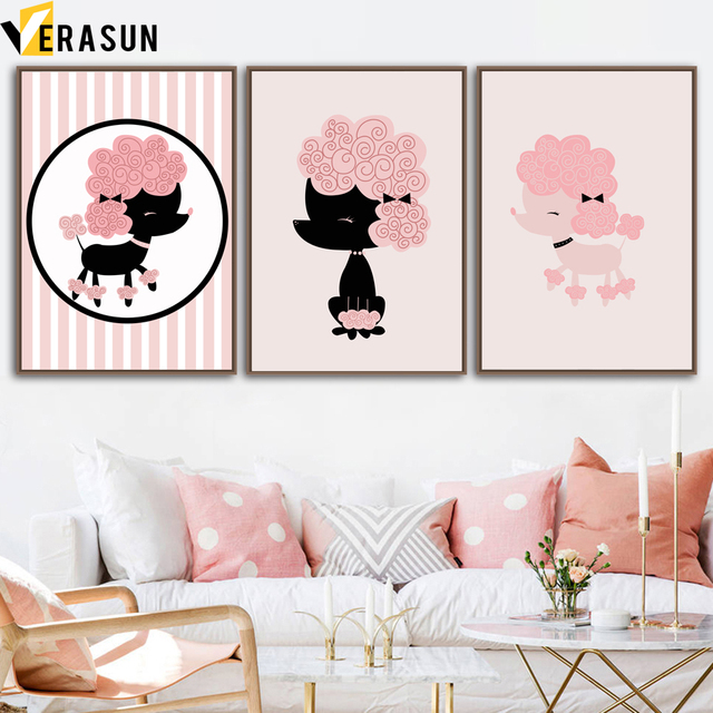Cartoon French Poodle Wall Art Canvas Painting Nordic Posters And ...