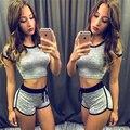 Ahagaga Nueva Rusia Mujeres Conjuntos Traje de Gimnasio Traje Del Chándal de Moda Sólido Gris Flaco Atractivo de $ number piezas (Tops + Shorts) Set Para la Mujer