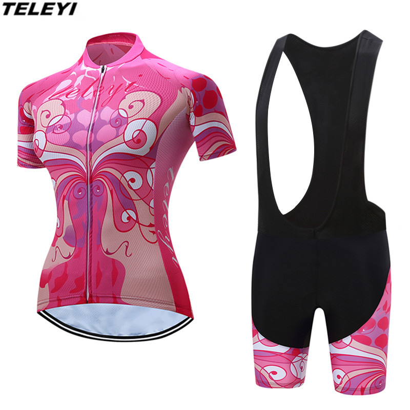 Pink Sportswear Cycling jersey Sets Women Bike clothing clothes Ropa Ciclismo MTB bicycle jersey Top Bib Padded Shorts Summer