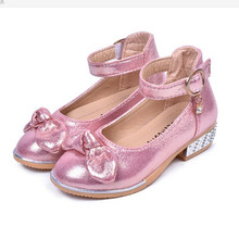 2019New Kids Shoes Childrens Bling high heeled baby Girls Sequins princess shoes Dance Wedding Party for girl