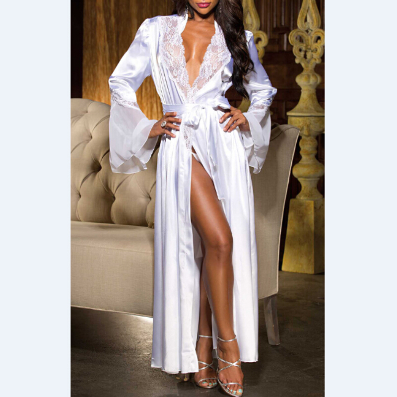 Women Sexy Robes V Neck Long Silk Kimono Dressing Gown Bath Robe Lace Patch Lingerie Nightdress