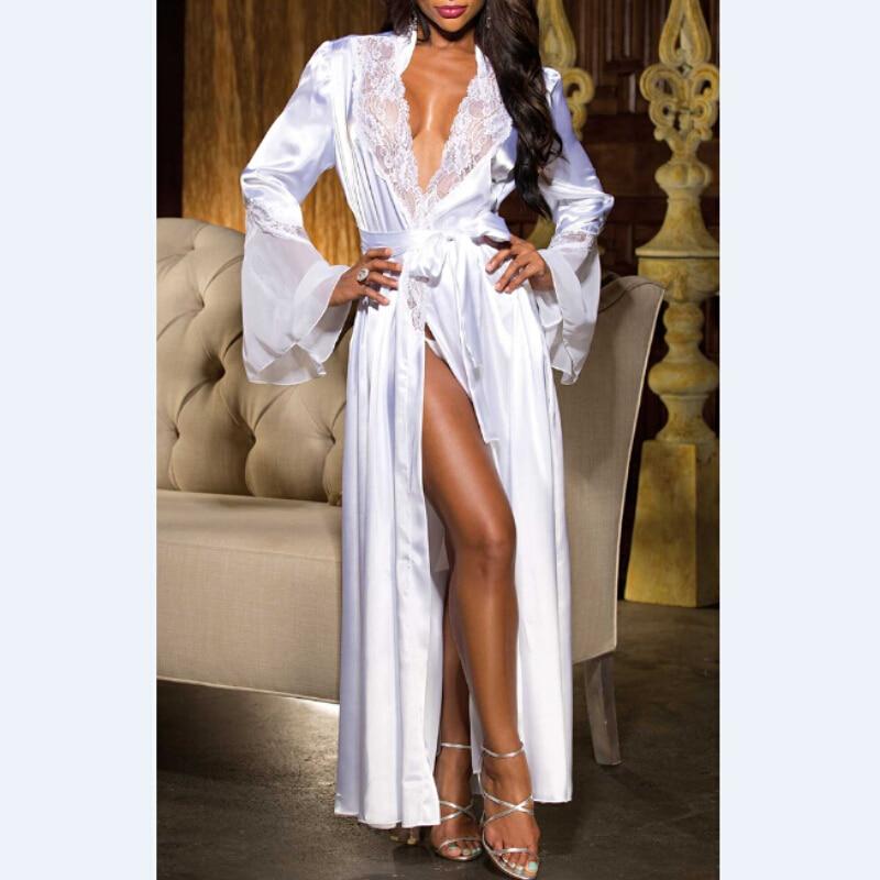Women Sexy Robes V Neck Long Silk Kimono Dressing Gown Bath Robe Lace Patch Lingerie Nightdress