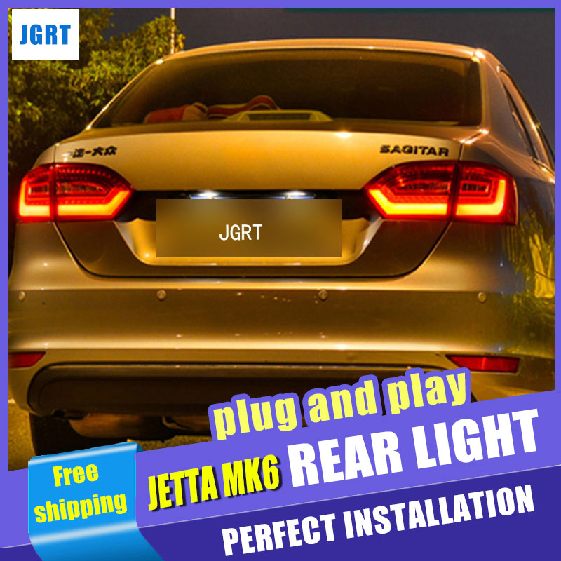 Car Styling for VW Jetta Taillights Jetta MK6 LED Tail Light Rear Lamp DRL+Turn Signal+Brake+Reverse automobile Accessories car styling 2012 2014 camry v50 taillights camry led tail light rear lamp drl turn signal brake reverse automobile accessories