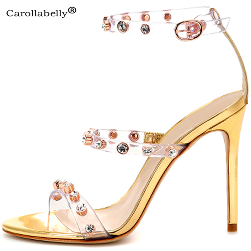 Carollabelly 2019 New Sandals Crystal High Heels Ankle strap Big Size 34 46 Diamond Sandals Bridal