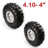 TDPRO 2pcs New 3.50/4.10 4 Inch aluminium alloy wheel rim+rubber wheel tyre tire for 49cc Mini Quad Dirt Bike Scooter ATV Buggy