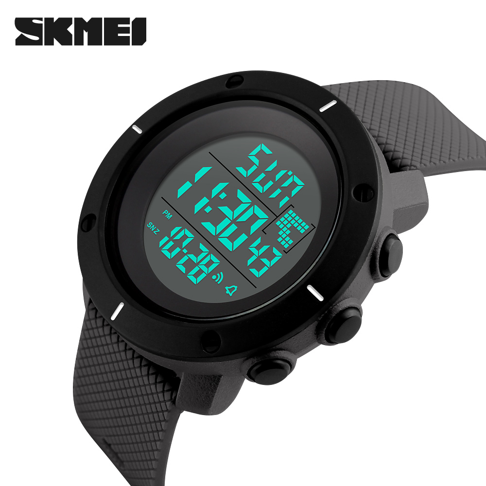 <font><b>SKMEI</b></font> Brand Men Digital Watch Fashion Waterproof Military Wristwatch Big Dial 2 Time Zone Man Chronograph Outdoor Sport Watches image