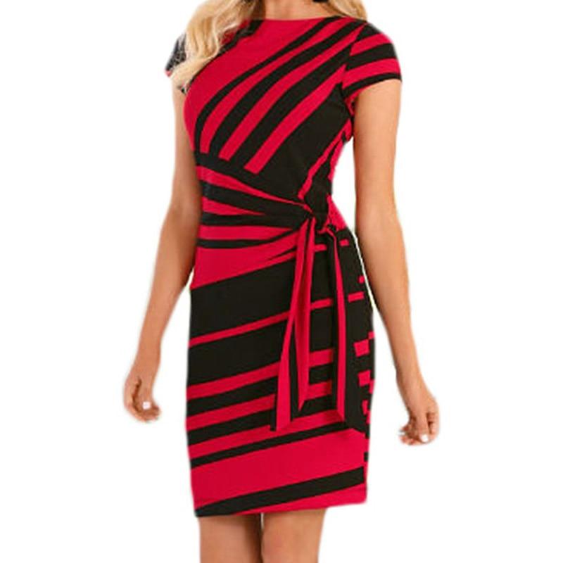 Vestidos Robe Casual 2018 Autumn Pencil Red/Black White Stripe Work Dresses Women Knot Sheath Party Dress