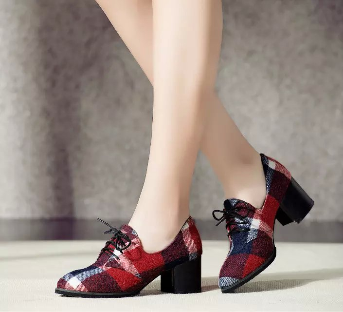 4d19985c1f9b British style flannel women plaid pumps square heel party high heel shoes  pointed toe lace up fashion casual shallow shoes -in Women s Pumps from  Shoes on ...