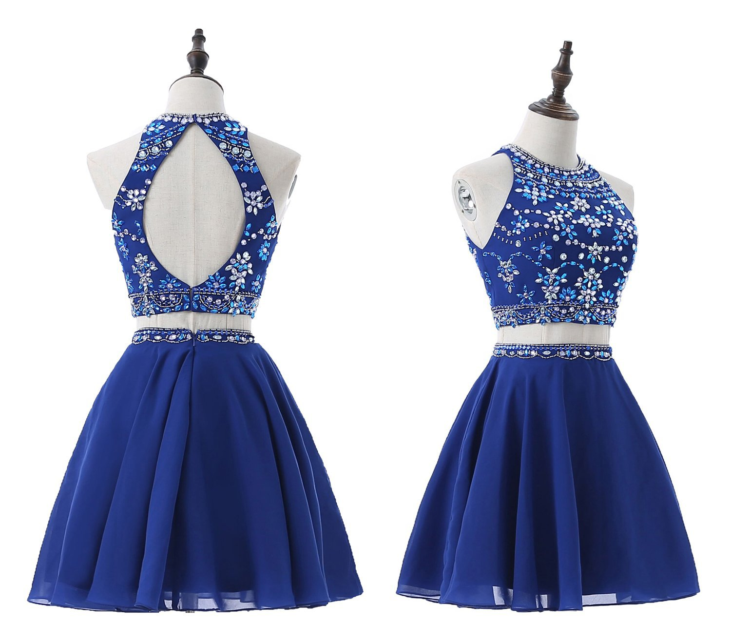 High Quality A-line Two-Pieces Sexy   Cocktail     Dress   Halter Crystal Beading Sleeveless Backless Pink Royal Blue   Cocktail     Dress