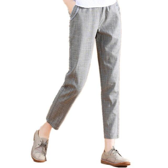 79396aeacb De algodón y lino de harén DE LINO DE VERANO 2019 elástico cintura recta  suelta de la longitud del tobillo pantalones Harem Pantalones de las mujeres