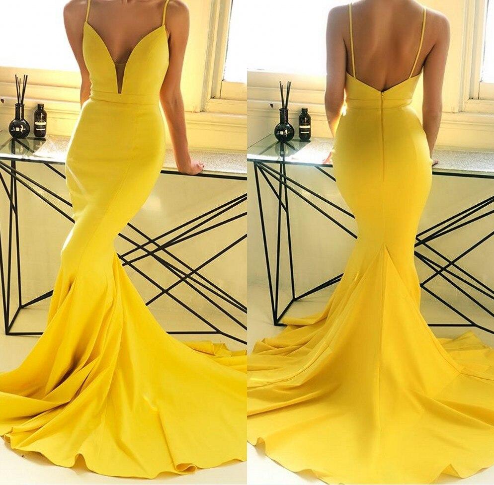 Sexy Backless Mermaid Yellow   Bridesmaid     Dresses   Long 2019 Spaghetti Strap Maid of Honor Wedding Guest   Dress   Satin Prom   Dresses