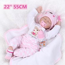 Lovely 22″ Growing Partners silicone reborn baby dolls Handmade Soft Doll Reborn Toys For Children Clothes Kids Birthday Gift