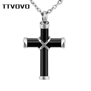 TTVOVO Cremation Jewelry Cross Urn Necklaces for Ashes Women Men Stainless Steel Memorial Pendant Ashes Keepsake Jewelry Memory(China)
