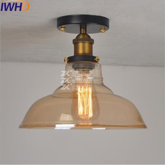 IWHD стеклянный Лофт промышленный потолочный светильник Эдисона, светодиодный светильник для гостиной, плафон, Ретро винтажный потолочный светильник
