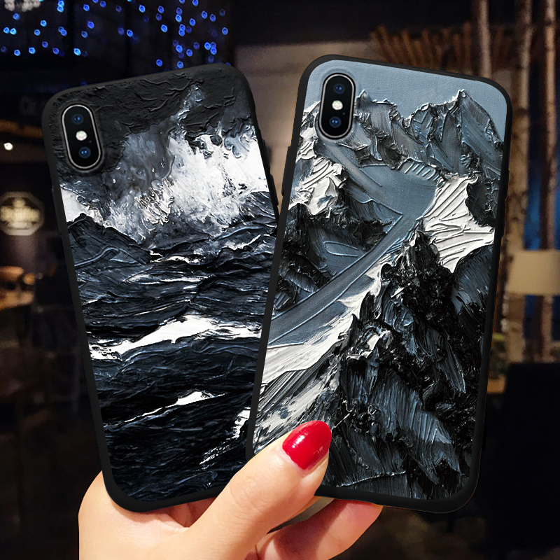 Für Xiao mi mi 8 Lite A1 A2 9 F1 Fall <font><b>3D</b></font> Relief Schnee berg Silikon Für Xiao mi Red mi Hinweis 7 5 6 Pro 4X 5A 6A S2 4A 5 Plus Fall image