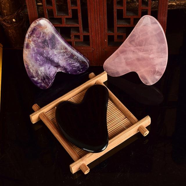 Rascador de cuerpos Gouache múltiples materiales Tabla de raspado parte trasera del pie Guash rascador de arañazos piedra de cristal masaje gua sha herramientas
